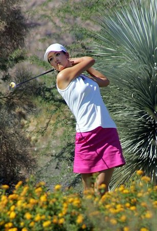 Michelle Wie in white and pink