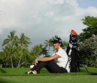 Michelle Wie with her sticks